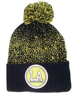 Los Angeles LA Patch Cuff Knit Pom Beanie Winter Hat (Navy/Gold) - $12.75