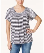 Styleco. Pleat-Neck Printed Top Black & White Stripe Small NWT - $15.83