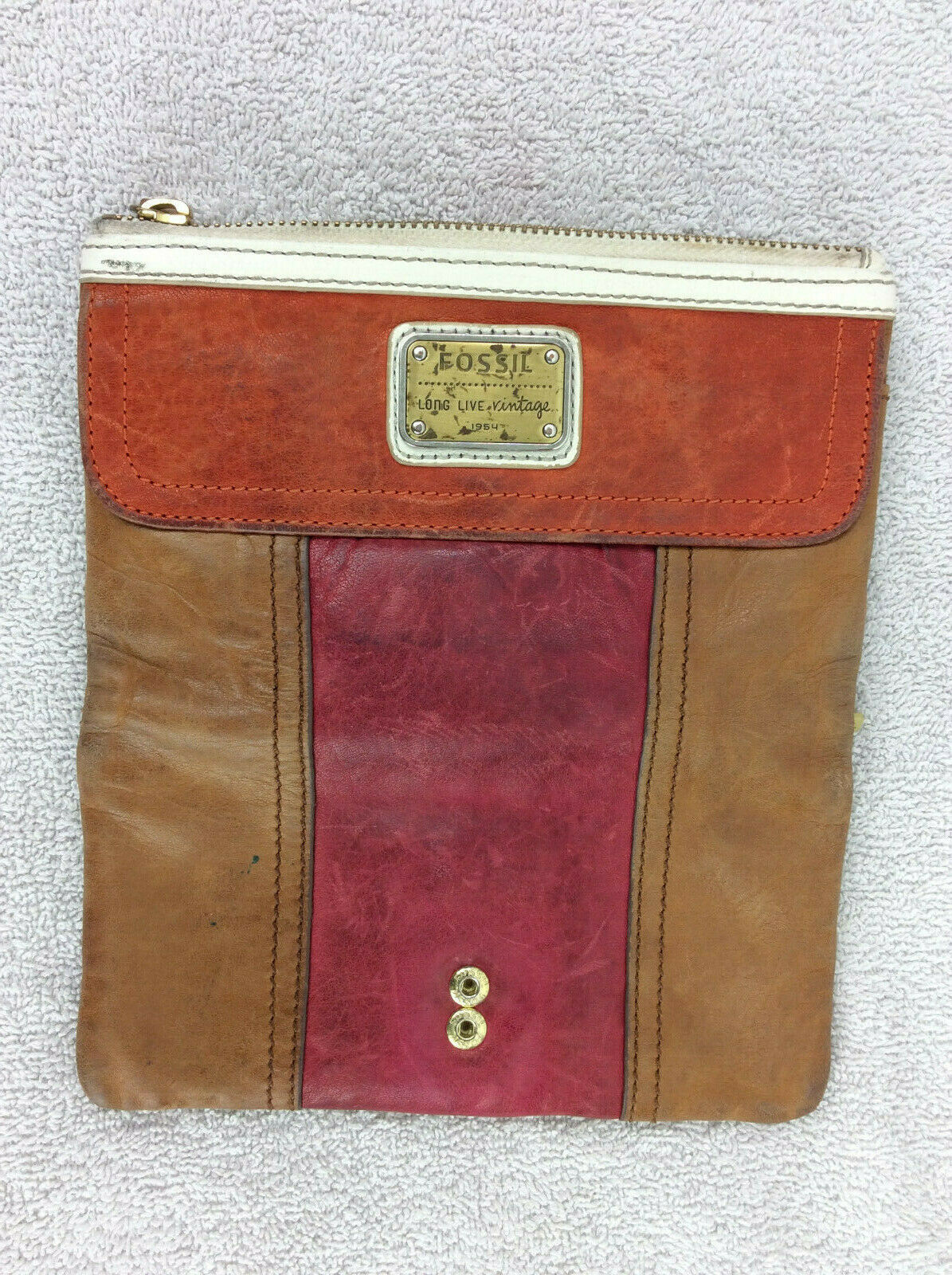 Fossil Brown Red Orange Leather Clutch Wallet Flap Zipper White Trim