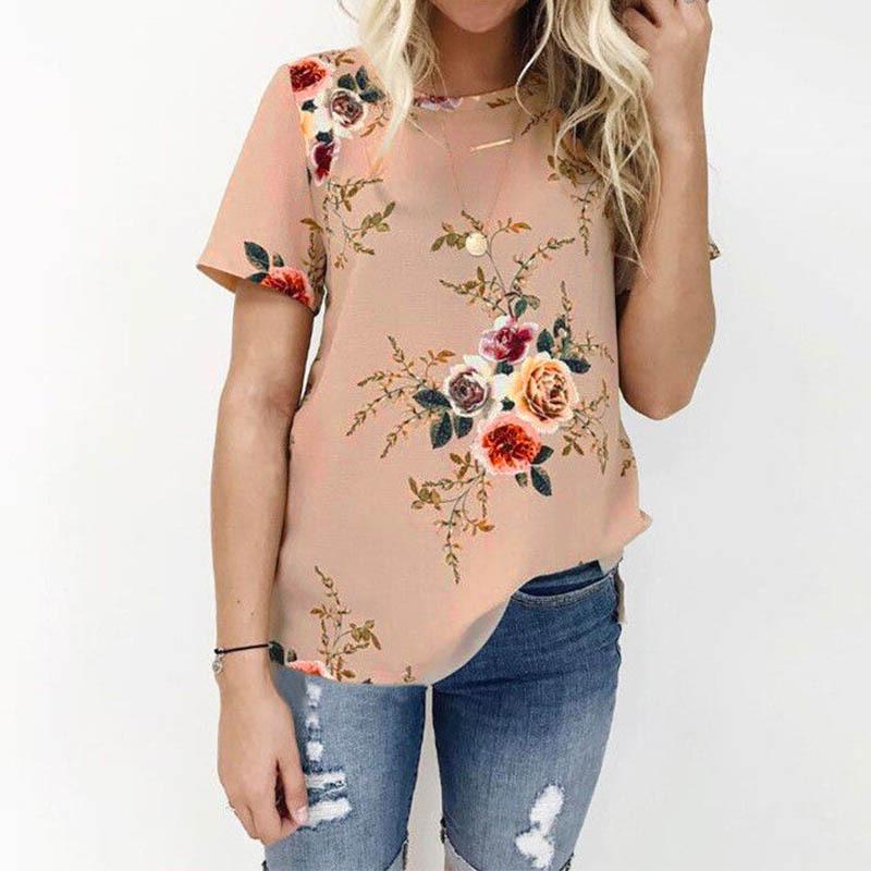 Zanzea women summer o neck casual top short sleeve loose floral print blouse party beach baggy