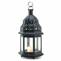 Clear Glass Lens Moroccan Birdcage Metal  Candle Lantern - $11.33