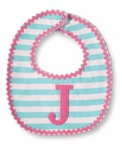 Mud Pie Baby Girls Newborn Letter J Initial Bib, Pink Blue Striped One Size - $11.69
