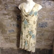 DressBarn Dress Women's Xl Beige Yellow Floral Beaded Drape Neck Chiffon - $17.73