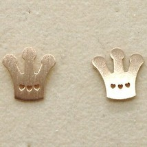 Silver Earrings 925 Laminated in Rose Gold le Favole with Crown Regina image 1