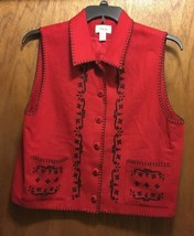 Talbot's Red Wool Vest w/ Embroidry L - $18.69