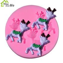 3 Mini Christmas Reindeer Fondant Mold Chocolate Silicone Cake Decoratin... - £1.49 GBP