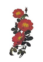 1 Set Of Creative Red Flowers Pattern Tattoo Stickers Waterproof