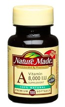 Nature Made Vitamin A, 8000 I.U., 100-Count Softgels Pack of 3