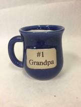 #1 Grandpa Coffee Mug  Muddy Waters Pottery  Cobalt Blue White - $14.84