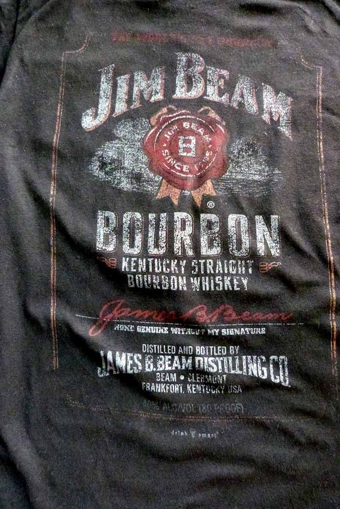 577410d8 Jim Beam Bourbon WHISKEY Distressed Label Unisex Adult Large Black T-Shirt