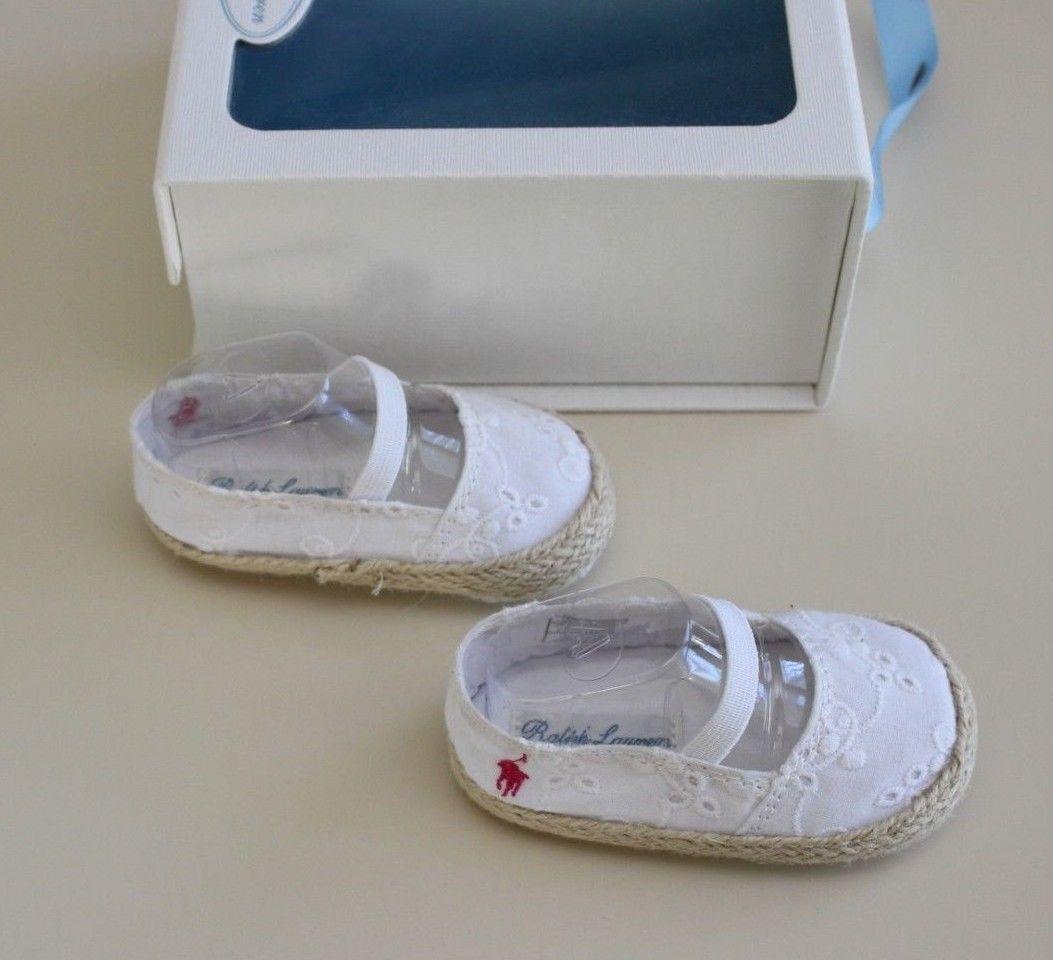 6d635883e Polo Ralph Lauren Infant Sz 2 Bowman Espadrille White Eyelet Straw Shoes