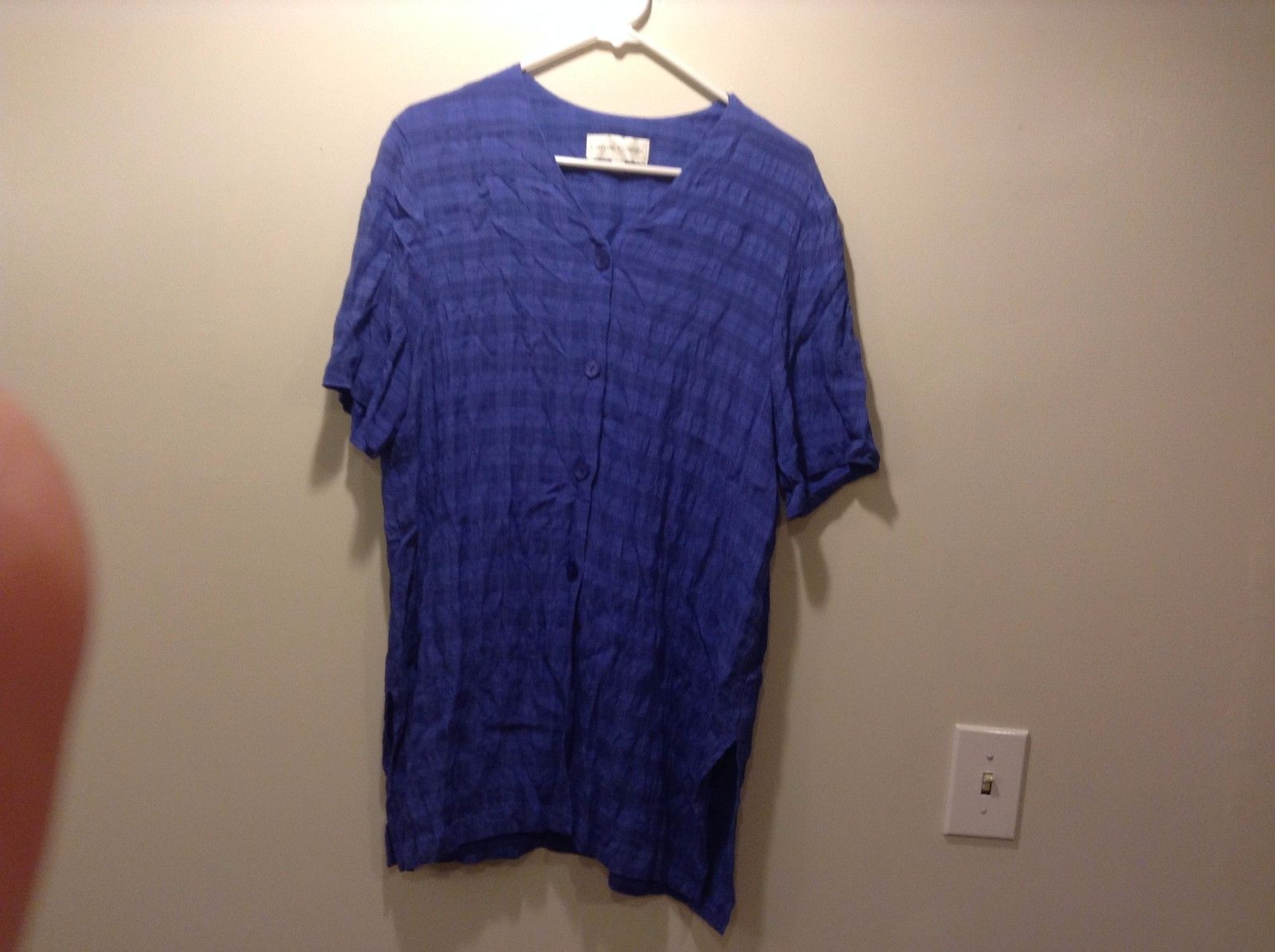 Casual Corner Blue Button Up Short Sleeve House Coat Sz L