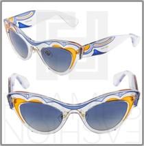 Miu Miu Cat Eye Sunglasses Transparent Clear Blue Orange SMU 07P Women M... - $249.33