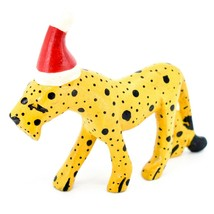 Hand Carved & Painted Jacaranda Wood Santa Hat Cheetah Safari Christmas Figurine image 2