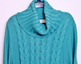 Sonoma Womens Green Cable Knit Turtleneck Sweater XL Extra Large - $29.99