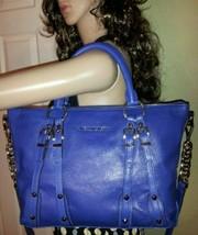 Michael Kors Leigh Stud Sapphire Blue Leather Crossbody Top Zip Satchel Bag Nwt - $226.09