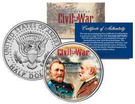 CIVIL WAR Generals ROBERT E. LEE & ULYSSES S. GRANT JFK Half Dollar US Coin - $8.56