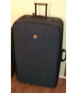 "VINTAGE PIERRE CARDIN ~ Blue HUGE 34""x 21"" x 11"" 2 Wheeled Suitcase - $128.68"