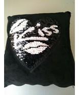 Black Sequin Magic Throw Pillow Velour Reversible Zipper Silver Pink White Kiss  - $12.95