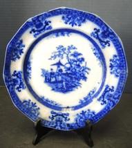 "Antique Flow Blue 9 1/4"" Davenport Plate - Amoy Pattern - $37.99"