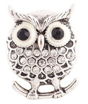 Clear White Rhinestone Perching Owl 20mm Snap Charm Jewelry For Ginger S... - $5.96