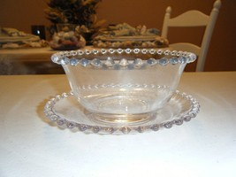 BEADED GLASS SERVING BOWL WITH SAUCER 5 INCH BOWL 6 INCH SAUCER - $9.89