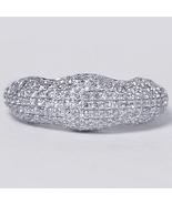 Natural Diamond Pave Dome Wedding Band Ring Women 14K White Gold 0.81 Carat - $699.00