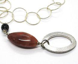 Collier Argent 925, Jaspe Ovale ,Longueur 80 cm, Cercles Grandes, Pendentif image 2