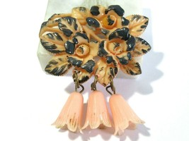 JAPAN CELLULOID PLASTIC PINK AND GRAY WITH DANGLES FLORAL DESIGN BOUQUET... - $18.00