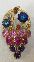 Brooch Pin Basket of Flowers Enamel Leaves Rhinestones Gold Tone Metal V... - $12.86