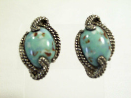 TURQUOISE Antiqued Silver Plate Screw Back Earrings Twisted Rope Design ... - $17.81