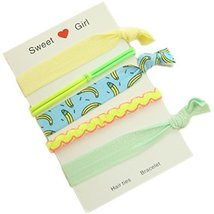 Set Of 2 Hair Rope Rubber Band Ponytail Holders Hairpin Headdress(Banana)