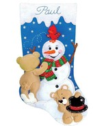 Design Works Snowman with Teddies Bear Christmas Snow Felt Stocking Kit ... - $29.95
