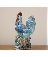 """Lovely French Country 15"""" Blue Porcelain Rooster Red Comb Facing Left - $78.00"""