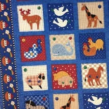 Noahs Ark Quilting Fabric Animal Squares and Border Fabric Traditions 3/... - $120,17 MXN