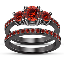 10k Black Gold Plated 925 Silver Round Cut Red Garnet Bridal Engagement Ring Set - $105.20