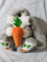 Aurora Grey Easter Spring Gray White Bunny Rabbit w/ Carrot Stuffed Plus... - $18.50