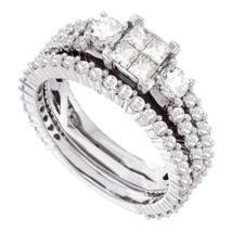 14kt White Gold Princess Diamond Cluster Bridal Wedding Engagement Ring Set - £1,100.85 GBP