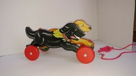 Vtg Schylling Labrador Dogs Black Golden Wooden Pull Toy and Action Bell  - $29.92