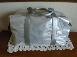Nina Ricci Parfums Tote Bag Silver Metallic Satchel Shopper Gym Travel L... - $24.99