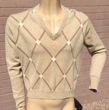 VTG Saks Fifth Avenue Cashmere Sweater Mens 42 V-Neck Pullover Diamond P... - $54.44