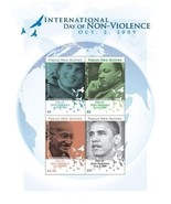 Day of Non violence, Obama, Dianna, Gandi, Martin Luther King Stamps sco... - $9.19 CAD