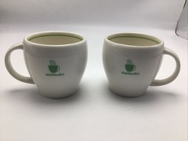 Starbucks Barista Abbey Mug 2003 White Green Steaming Cup Logo 14 oz Set... - $16.92