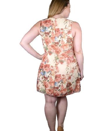 Plus size floral print mini dress with stylish neckline