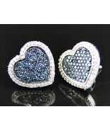 14K Whtie Gold Finish Blue Topaz & Sim Diamond Heart Shape Stud Earrings... - $89.99