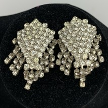 Vintage Clear Rhinestone Clip On Earrings Formal Evening Prom Chandelier... - $15.80