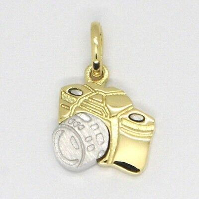 White Yellow Gold Pendant 750 18k, Camera, Made in Italy
