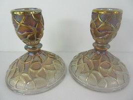 Vintage Pair Imperial Soda Gold Carnival Glass Candle Stick Holder Smoke - $46.23