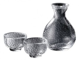 Ochoko Tokkuri Japanese glass Sake cup & bottle set Edo glass traditiona... - $51.50
