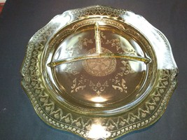 Set of 3 yellow depression glass plates and sectioned. - $42.08